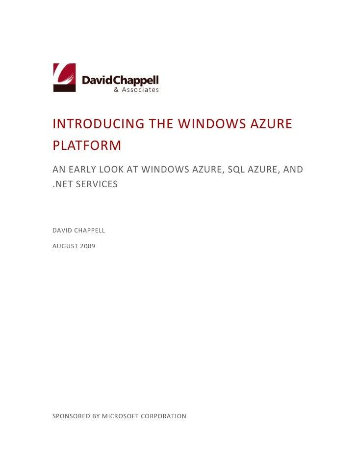 Windows Azure Platform, V1 2  Chappell