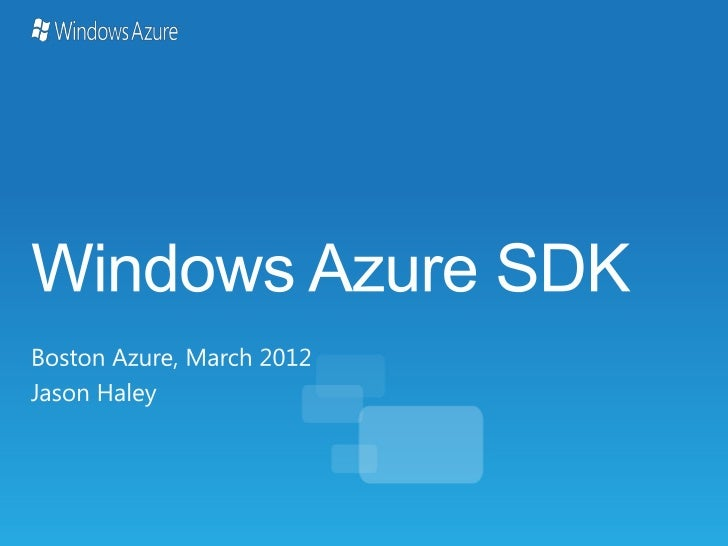 Windows Azure Sdk