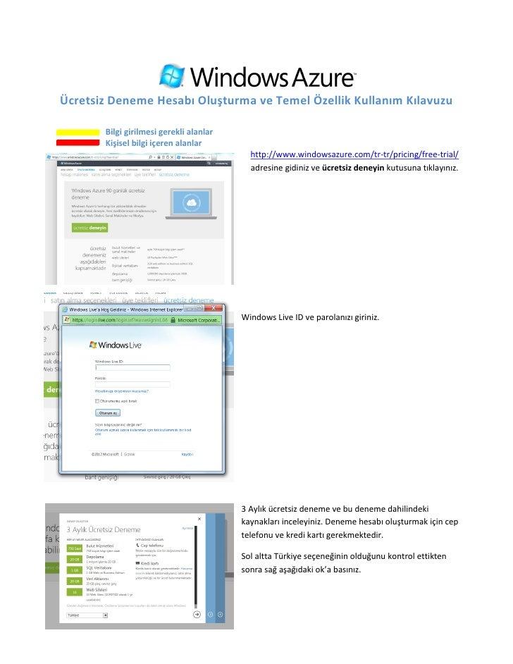 Windows Azure Üyelik ve Kullanım