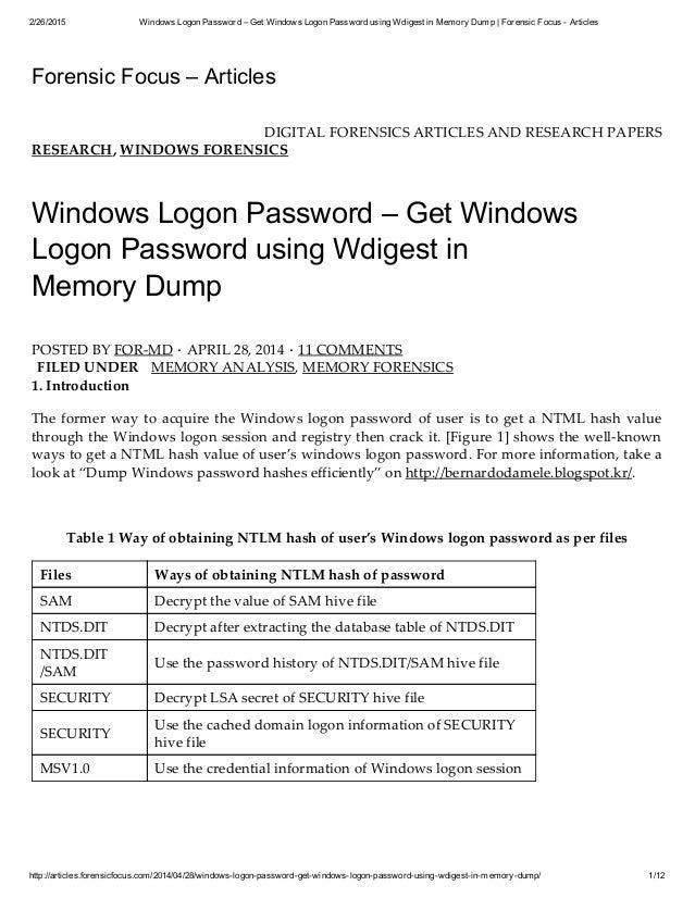 Windows logon password get windows logon password using wdigest in