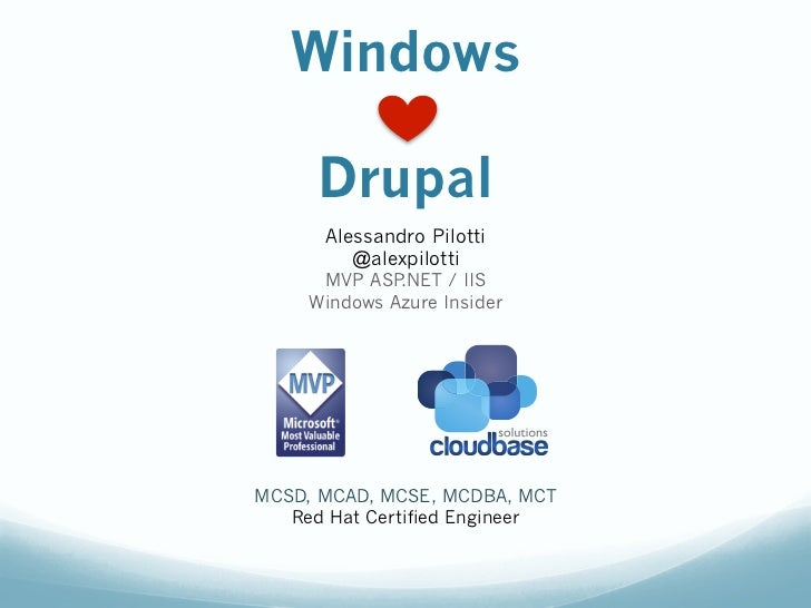 Windows      Drupal      Alessandro Pilotti         @alexpilotti      MVP ASP .NET / IIS     Windows Azure InsiderMCSD, MC...