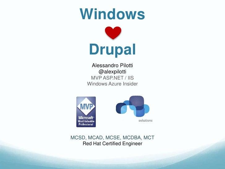 Windows      Drupal       Alessandro Pilotti          @alexpilotti      MVP ASP.NET / IIS     Windows Azure InsiderMCSD, M...