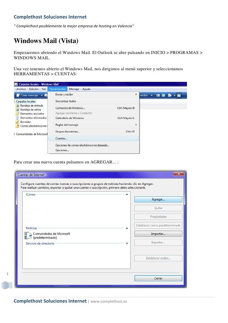 """Complethost Soluciones Internet     """" Complethost posiblemente la mejor empresa de hosting en Valencia""""       Windows Mail..."""
