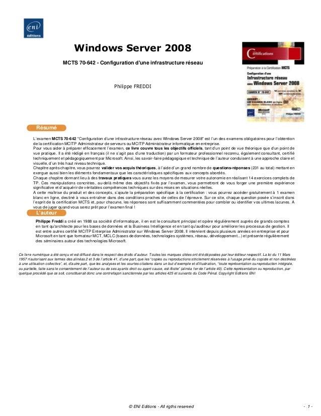 """L'examen MCTS 70-642 """"Configuration d'une infrastructure réseau avec Windows Server 2008"""" est l'un des examens obligatoire..."""