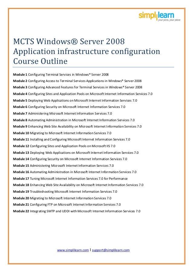 www.simplil www.simplilearn.com I support@simplilearn.com Module 1 Configuring Terminal Services in Windows® Server 2008 M...
