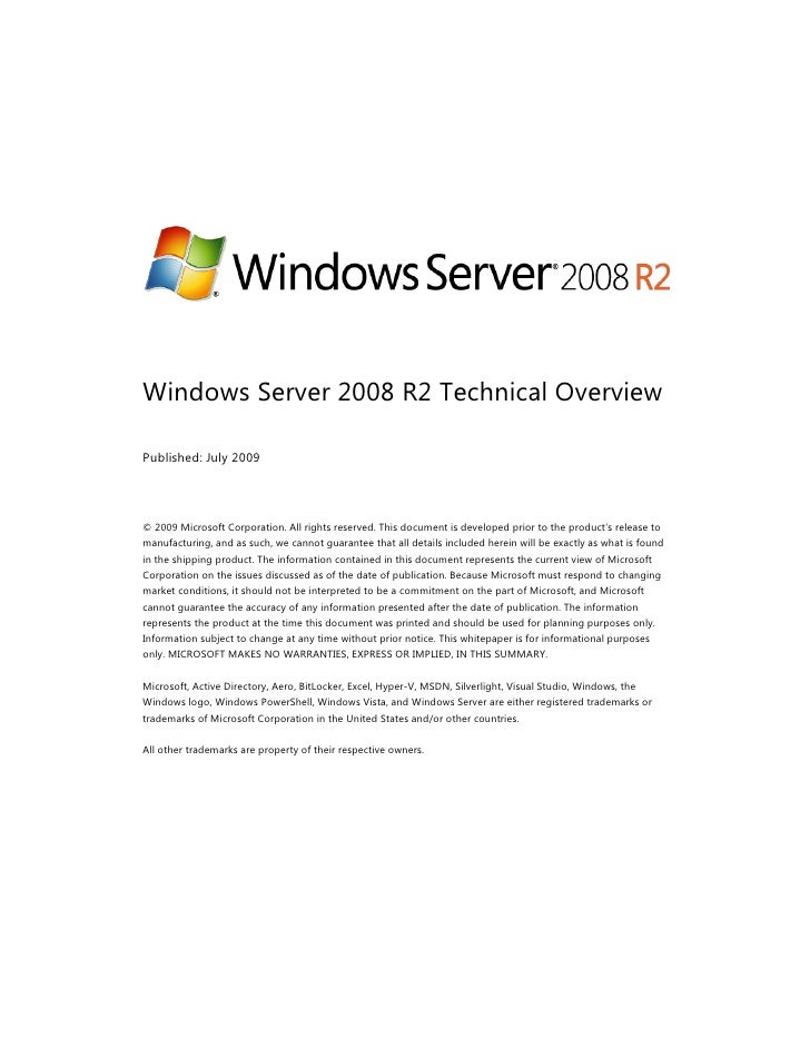 Microsoft India - Technical Overview on Windows Server 2008 R2 Whitepaper