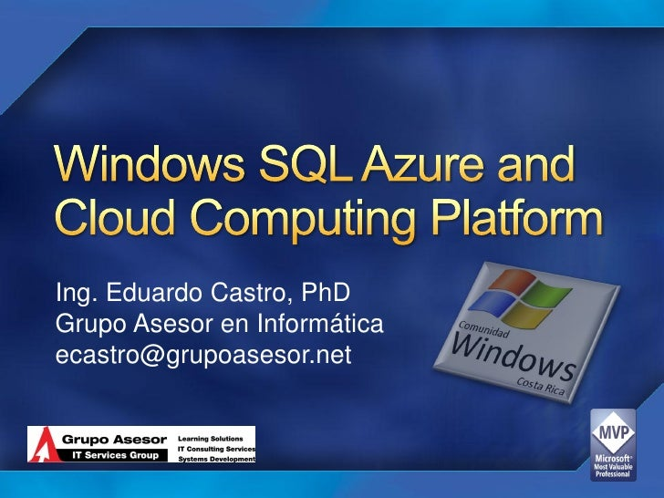 Windows Sql Azure Cloud Computing Platform