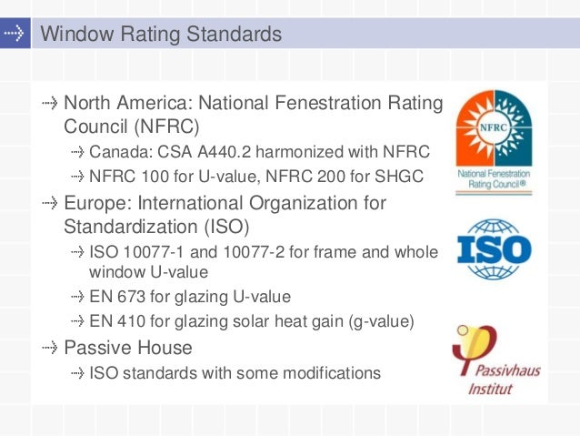 Window standards compared nfrc iso and passive house ratings for R rating for windows