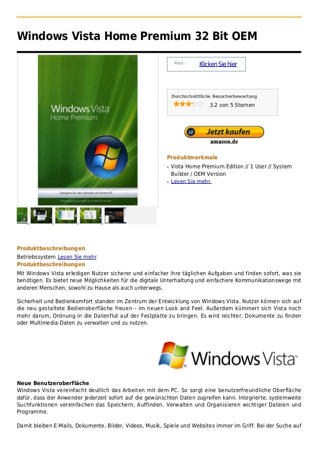 Windows Vista Home Premium 32 Bit OEM                                                               Preis :               ...