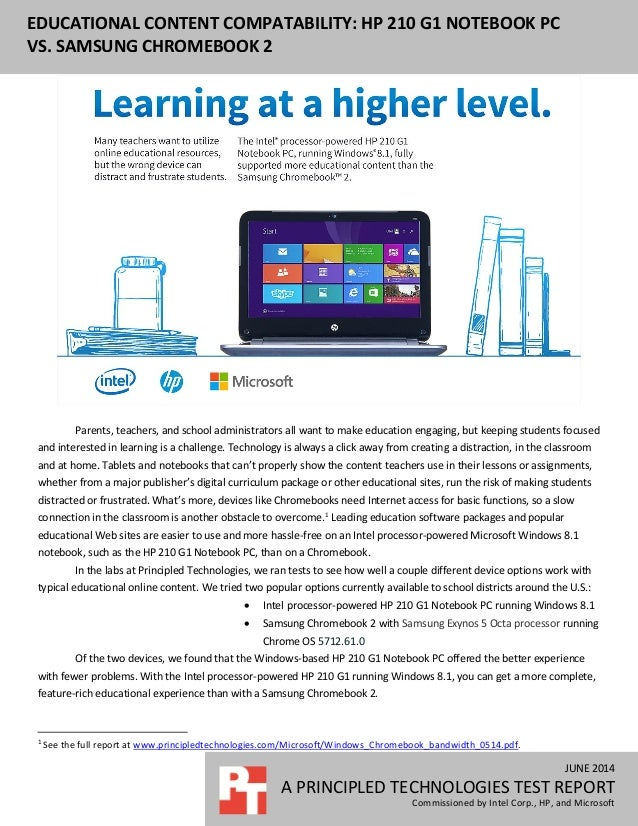 JUNE 2014 A PRINCIPLED TECHNOLOGIES TEST REPORT Commissioned by Intel Corp., HP, and Microsoft EDUCATIONAL CONTENT COMPATA...