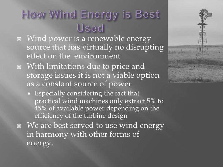 an analysis of wind power as an alternate source of energy Wind energy development on blm-administered a high visual quality standard before wind power only analyze biomass as a potential energy source.