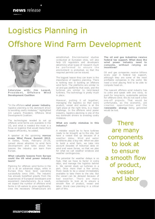 Logistics Planning in Offshore Wind Farm Development: Interview with: Jim Lanard, President, Offshore Wind Development Coalition