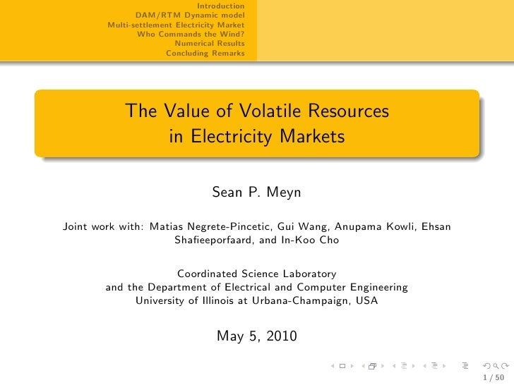Introduction                DAM/RTM Dynamic model         Multi-settlement Electricity Market                Who Commands ...