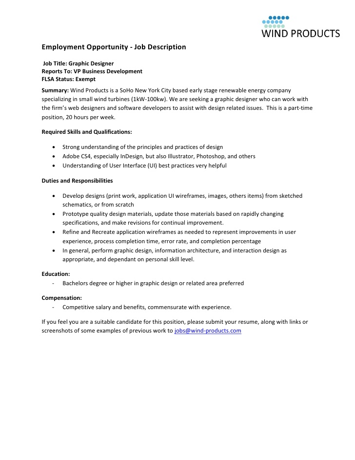 Employment opportunity job descriptionjob title graphic