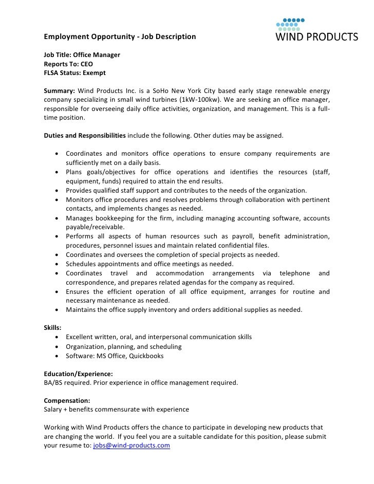 wind products office manager job description - Office Manager Job Description For Resume