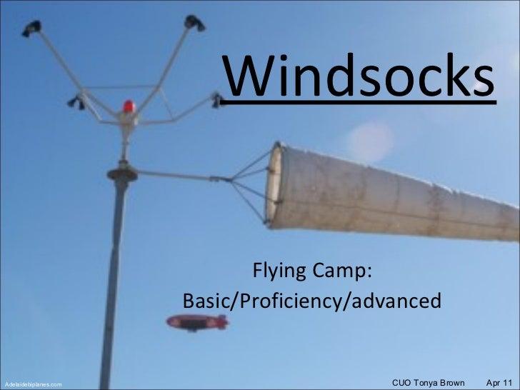 Windsocks Flying Camp: Basic/Proficiency/advanced CUO Tonya Brown  Apr 11 Adelaidebiplanes.com