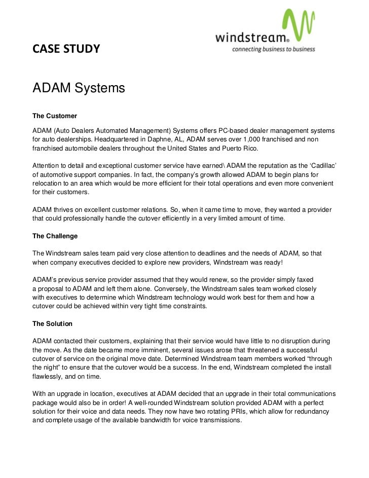 CASE STUDY                                                                                          ADAM SystemsThe Custom...