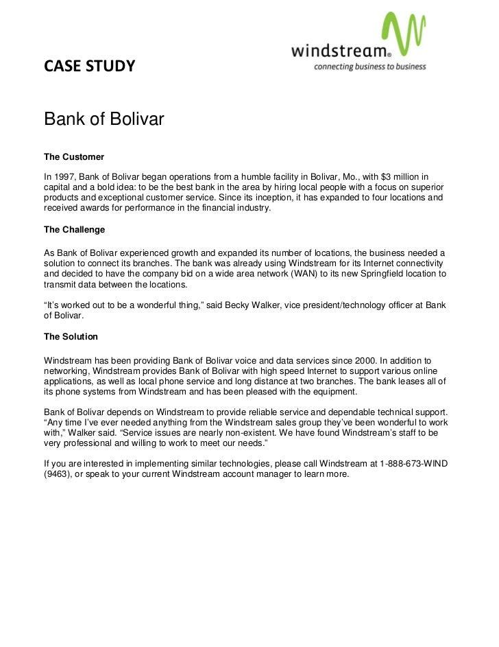 CASESTUDY                                                                                      Bank of BolivarThe C...