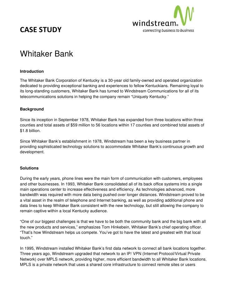 Case Study: Windstream Financial Whitaker Bank