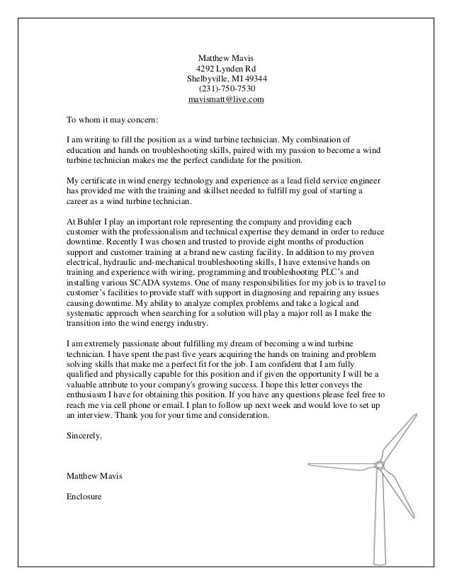 Wind Technician Cover Letter .