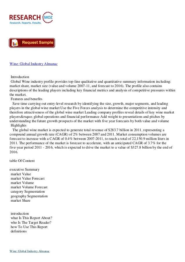 Wine: Global Industry Almanac:Industry Analysis Report