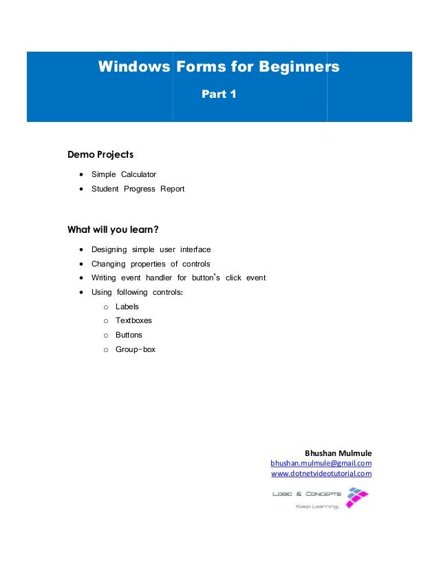 Windows Forms For Beginners Part - 1