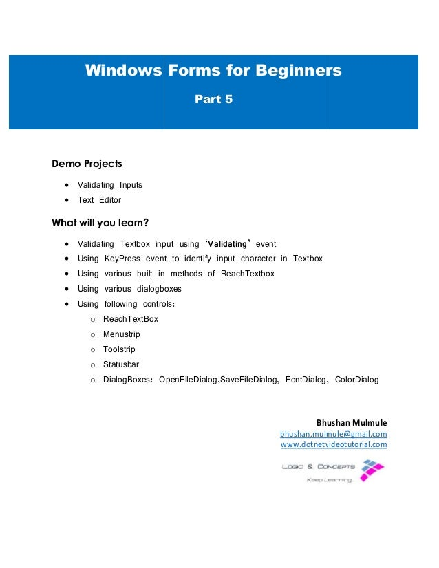 Windows Forms For Beginners Part 5
