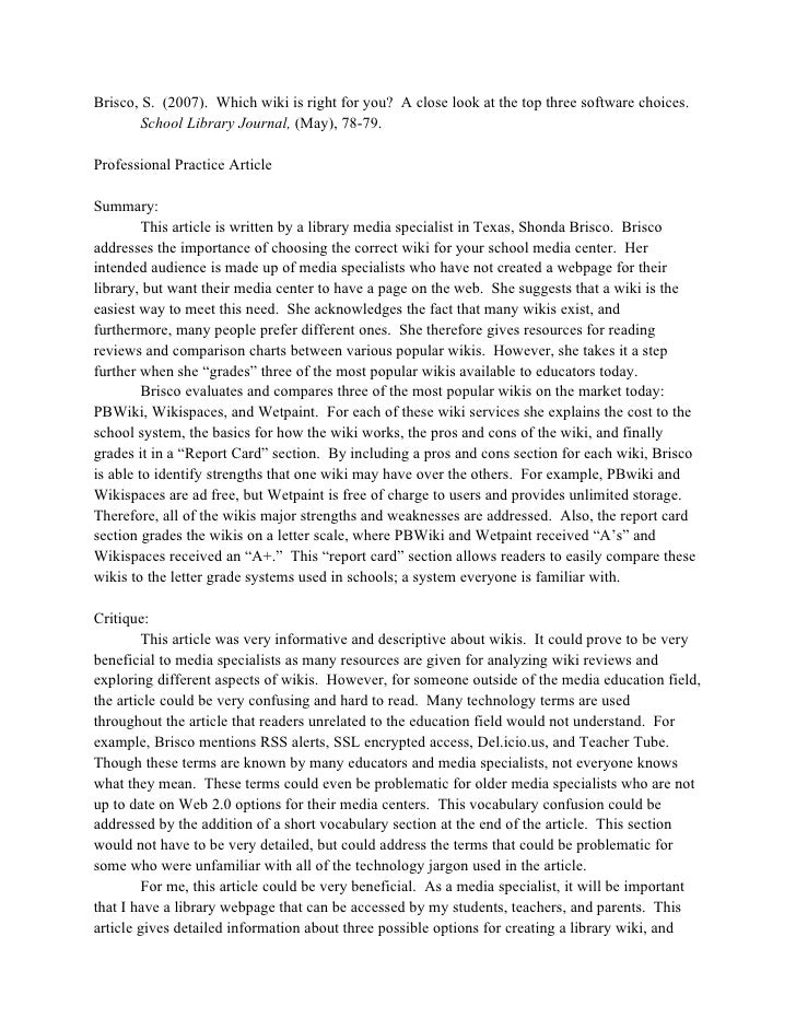 journal article summary Journal article reviews refer to the appraisal of potencies and limitations of an article's opinion and subject matter the article reviews offer the readers with an explanation, investigation and clarification to evaluate the importance of the article a journal article review usually follows the.