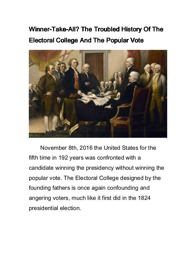the origins and history of the electoral college The electoral college is a process, not a place the founding fathers established  it in the constitution as a compromise between election of the president by a.