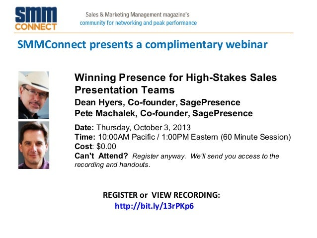 SMMConnect presents a complimentary webinar REGISTER or VIEW RECORDING: http://bit.ly/13rPKp6 Winning Presence for High-St...