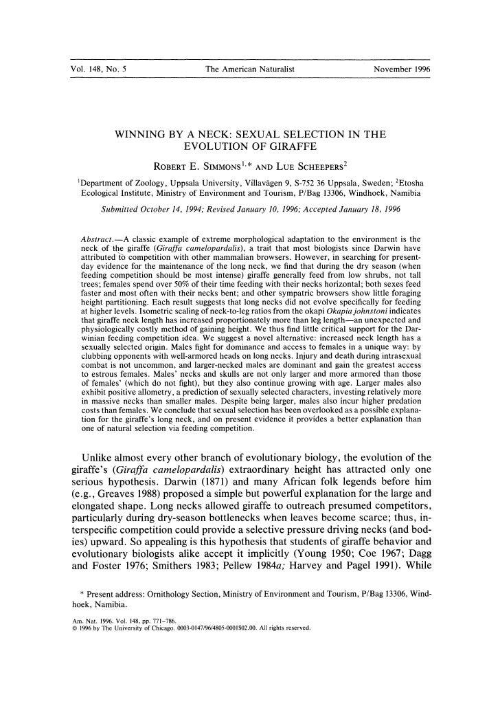 Vol. 148, No.5                                  The American Naturalist                   November 1996                   ...