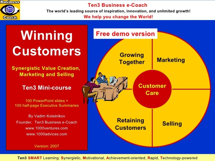 Winning Customers Synergistic Value Creation,  Marketing and Selling Ten3 Mini-course 100 PowerPoint slides + 100 half-pag...