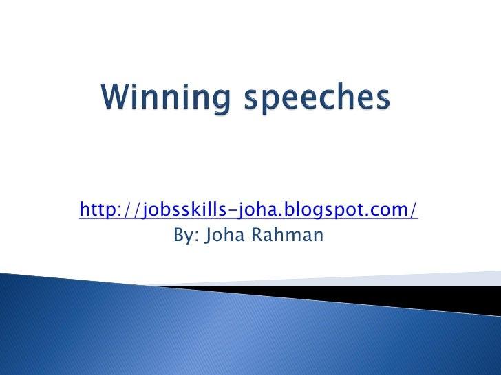 Winning speeches