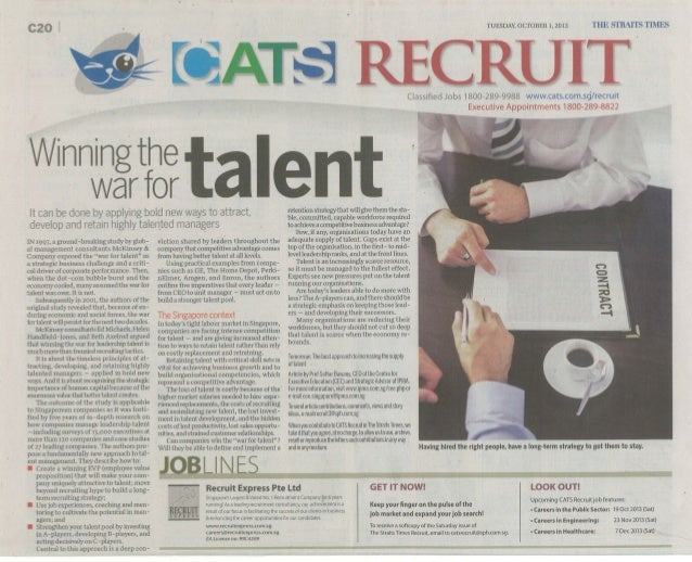 Winning the War for Talent ST 1st October 2013