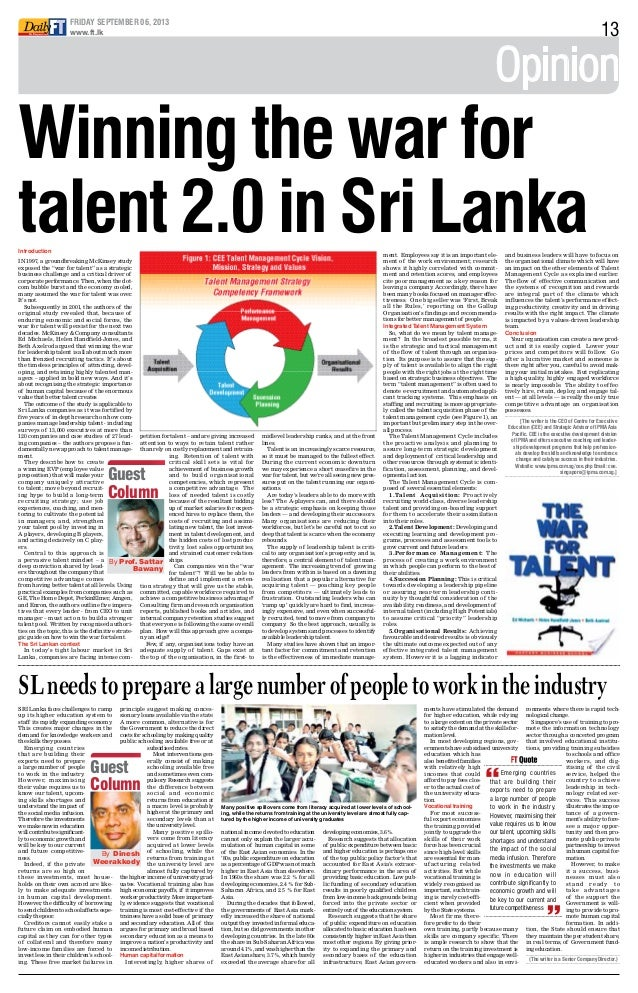 Winning the war for talent 2.0 in sri lanka   daily ft by prof sattar bawany-6_sept_2013by