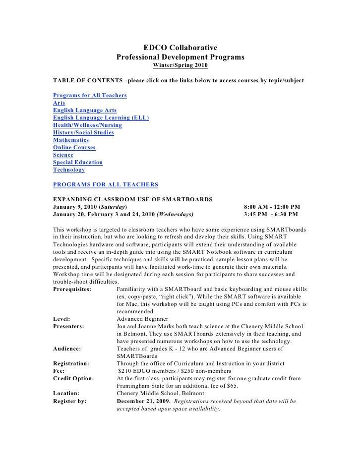 EDCO Collaborative                          Professional Development Programs                                        Winte...