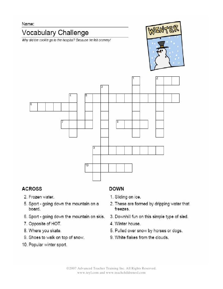 Winter Crossword Puzzles | New Calendar Template Site