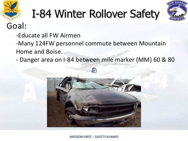 I-84 Winter Rollover SafetyGoal:  -Educate all FW Airmen  -Many 124FW personnel commute between Mountain  Home and Boise. ...