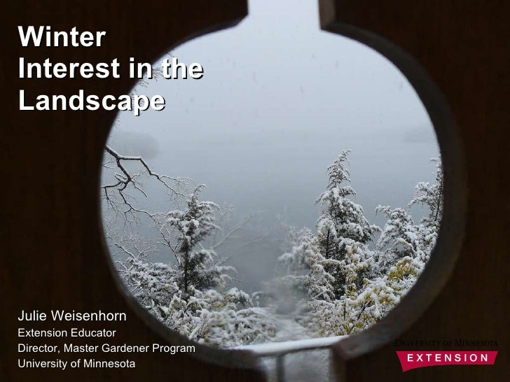 Julie Weisenhorn Extension Educator Director, Master Gardener Program University of Minnesota Winter Interest in the Lands...