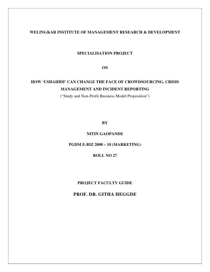 WELINGKAR INSTITUTE OF MANAGEMENT RESEARCH & DEVELOPMENT                         SPECIALISATION PROJECT                   ...