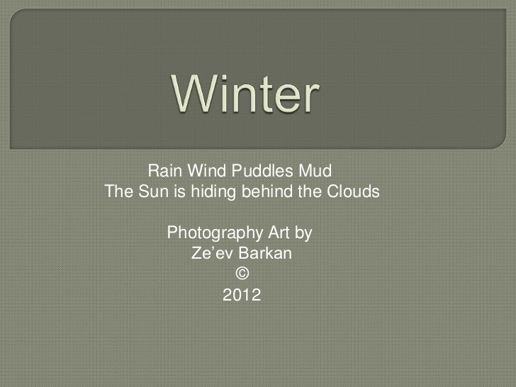 Rain Wind Puddles MudThe Sun is hiding behind the Clouds       Photography Art by         Ze'ev Barkan               ©    ...
