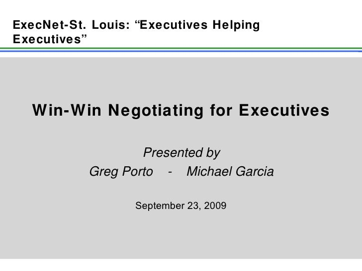 Win Win Negotiating For Executives 9 23 09 Final