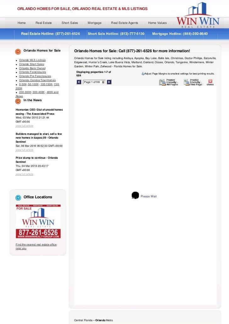 ORLANDO HOMES FOR SALE, ORLANDO REAL ESTATE & MLS LISTINGS    Home            Real Estate       Short Sales          Mortg...