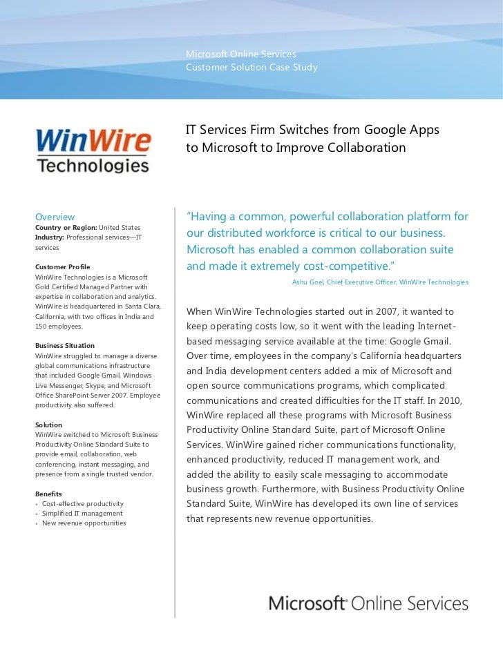 WinWire IT Services Firm Switches from Google Apps to Microsoft to Improve Collaboration