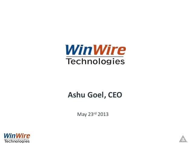 Ashu Goel, CEOMay 23rd 2013