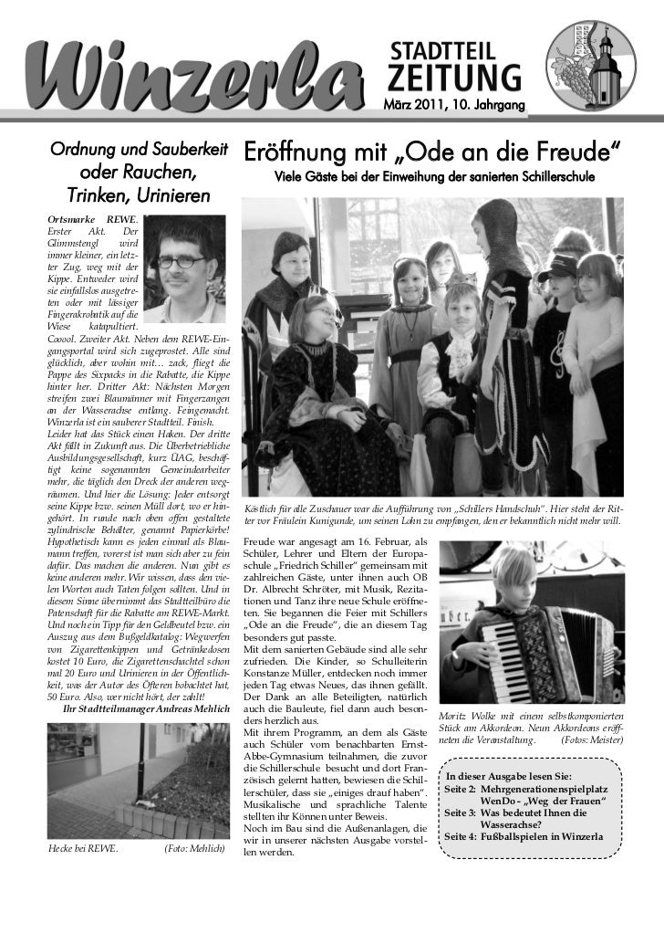 """März 2011, 10. JahrgangOrdnung und Sauberkeit                            Eröffnung mit """"Ode an die Freude""""       oder Rauc..."""