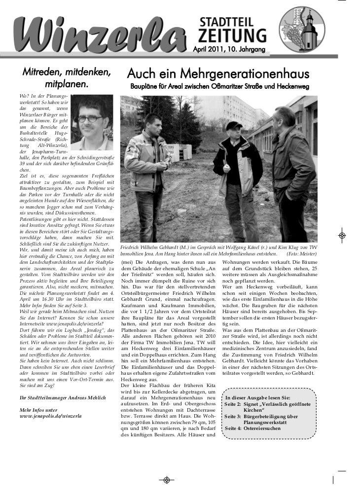 April 2011, 10. Jahrgang Mitreden, mitdenken,                                Auch ein Mehrgenerationenhaus      mitplanen....
