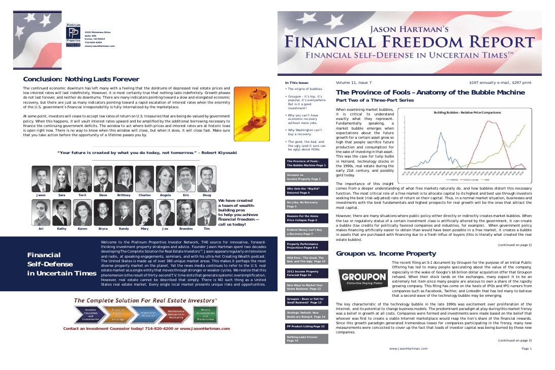 Free Sample Jason Hartman's Financial Freedom Report newsletter