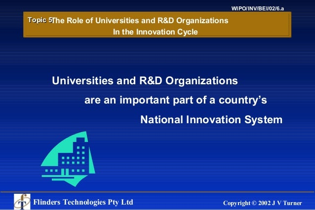 Flinders Technologies Pty Ltd Copyright © 2002 J V Turner WIPO/INV/BEI/02/6.a Universities and R&D Organizations are an im...