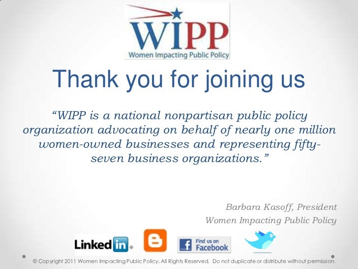 """Thank you for joining us  <br />""""WIPP is a national nonpartisan public policy organization advocating on behalf of nearly ..."""